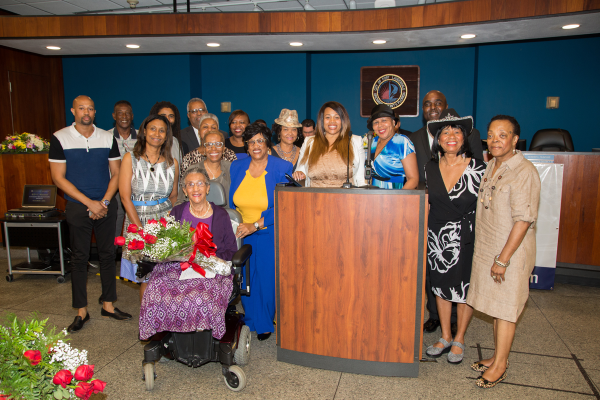 Exemplary Former City Employee Ada Bradley Moore with friends and family
