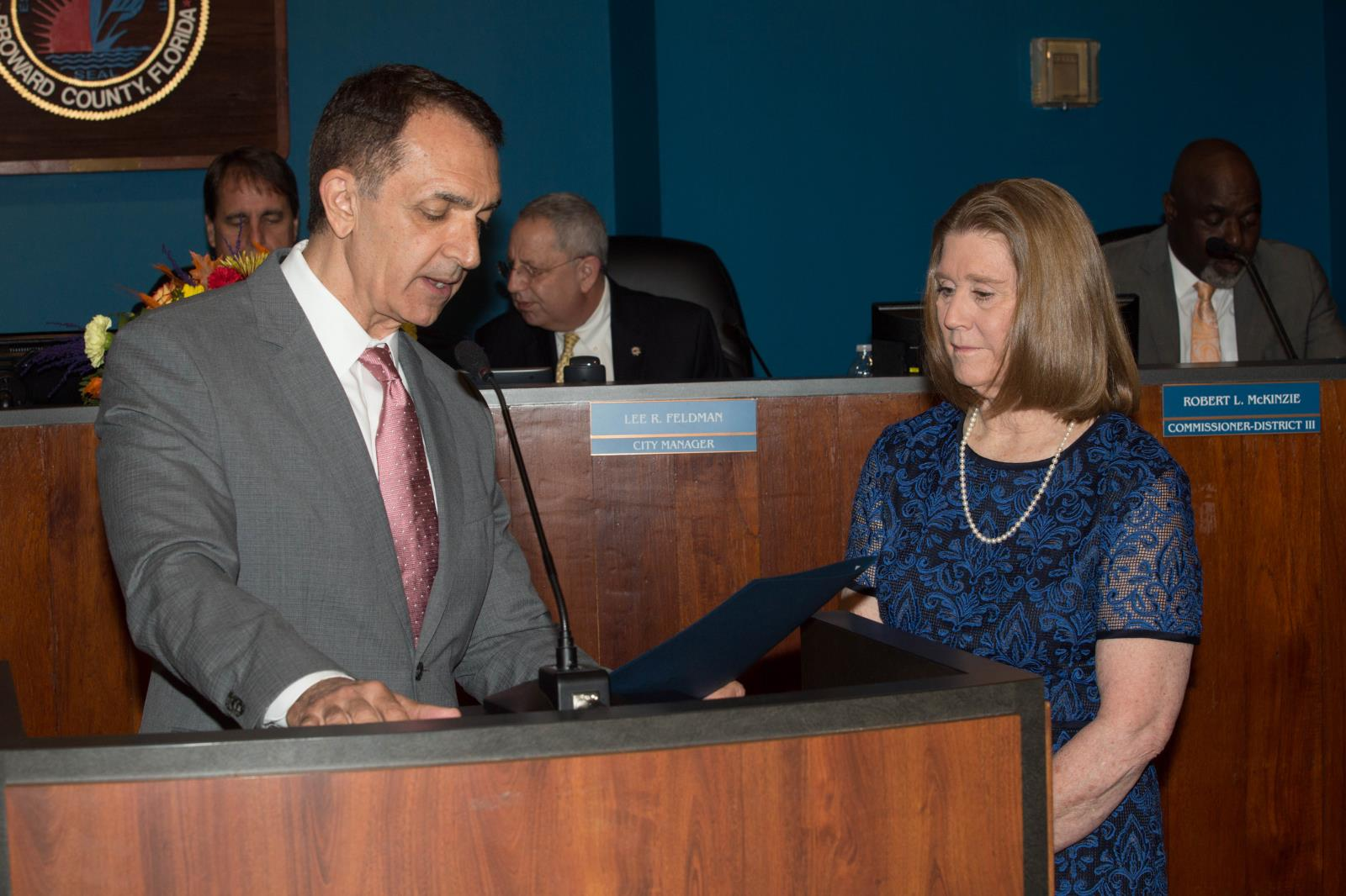 District 2 City Commissioner Dean Trantalis reads Citizen of the Year proclamation with Mary C. Fertig
