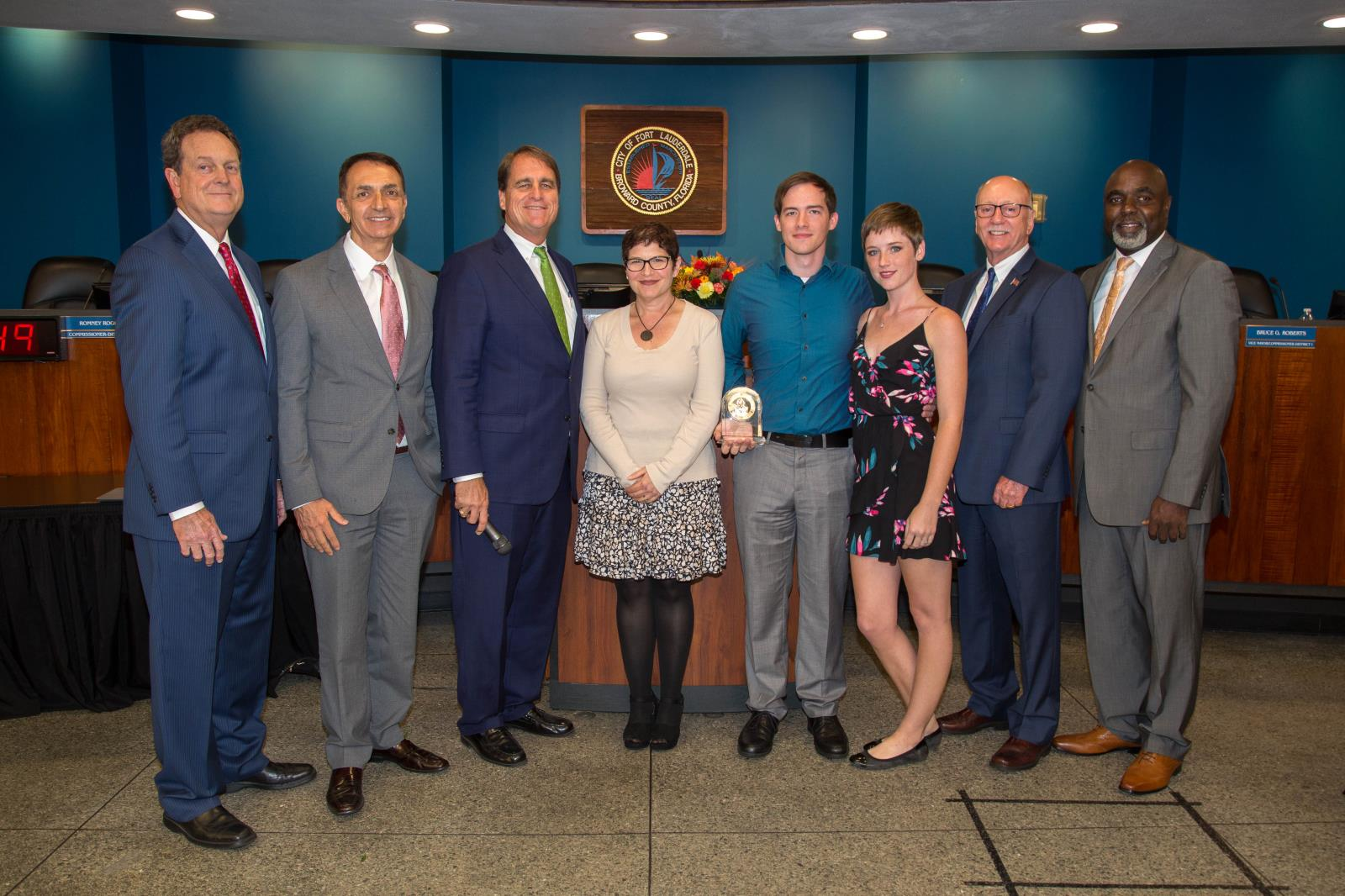 Fort Lauderdale City Commission with family of Exemplary Former City Employee Gene Dempsey