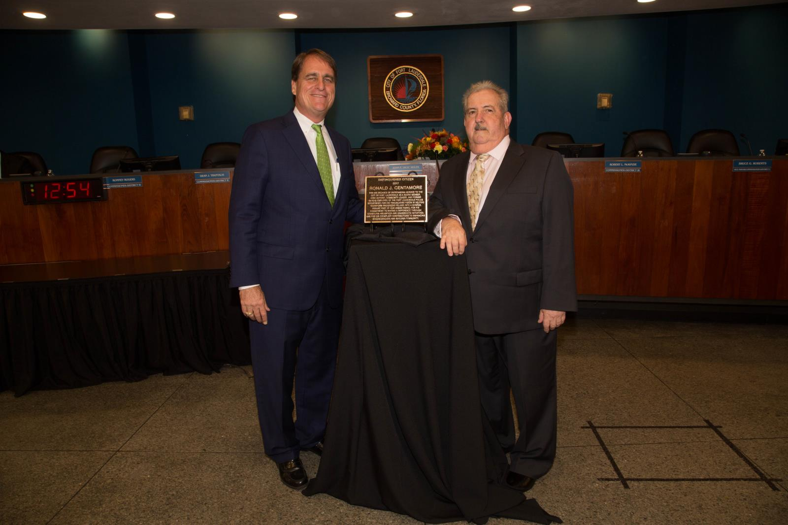 Mayor Jack Seiler with 2017 Distinguished Citizen Ronald J. Centamore