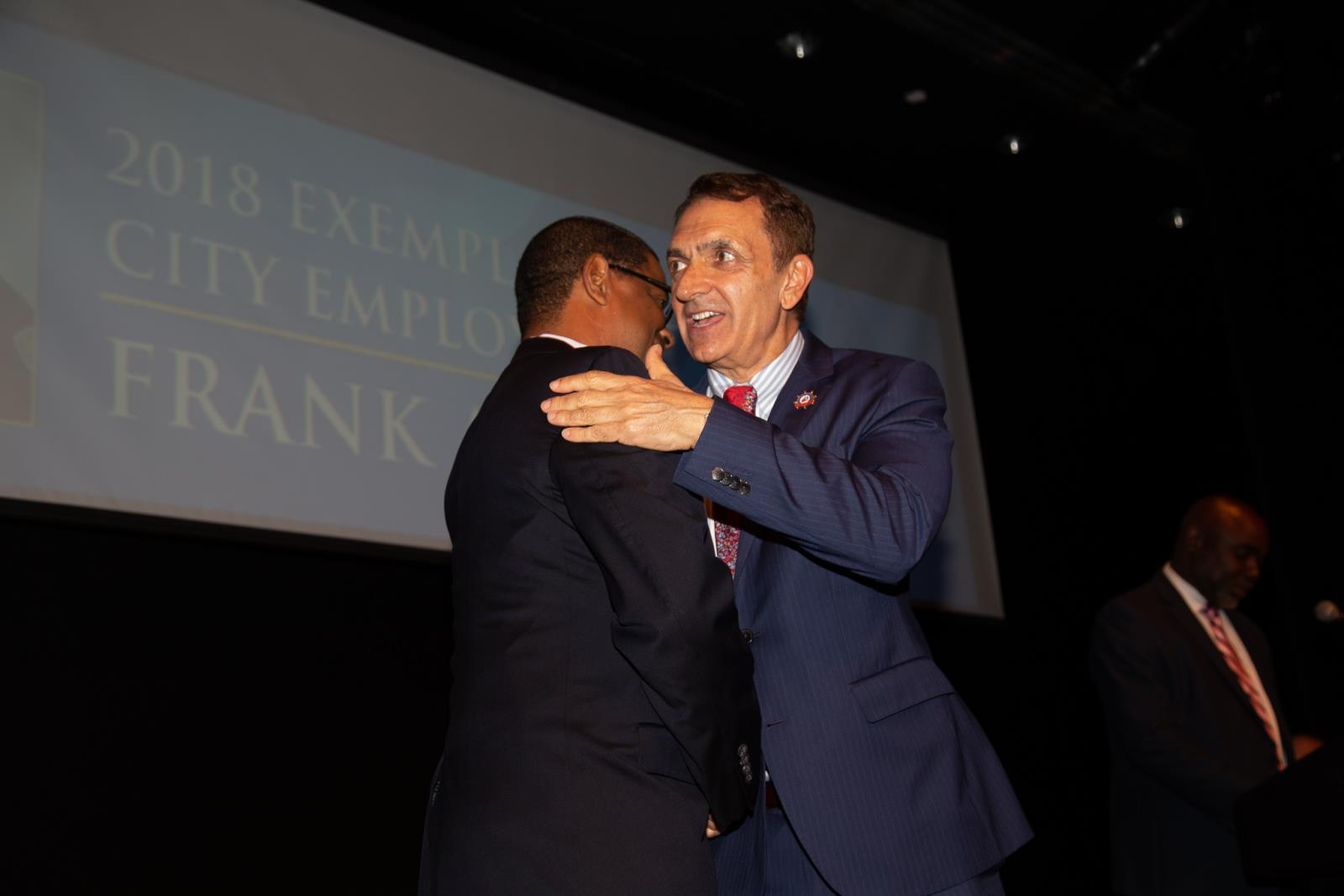 Mayor Dean Trantalis with 2018 Exemplary Former City Employee Frank Adderley