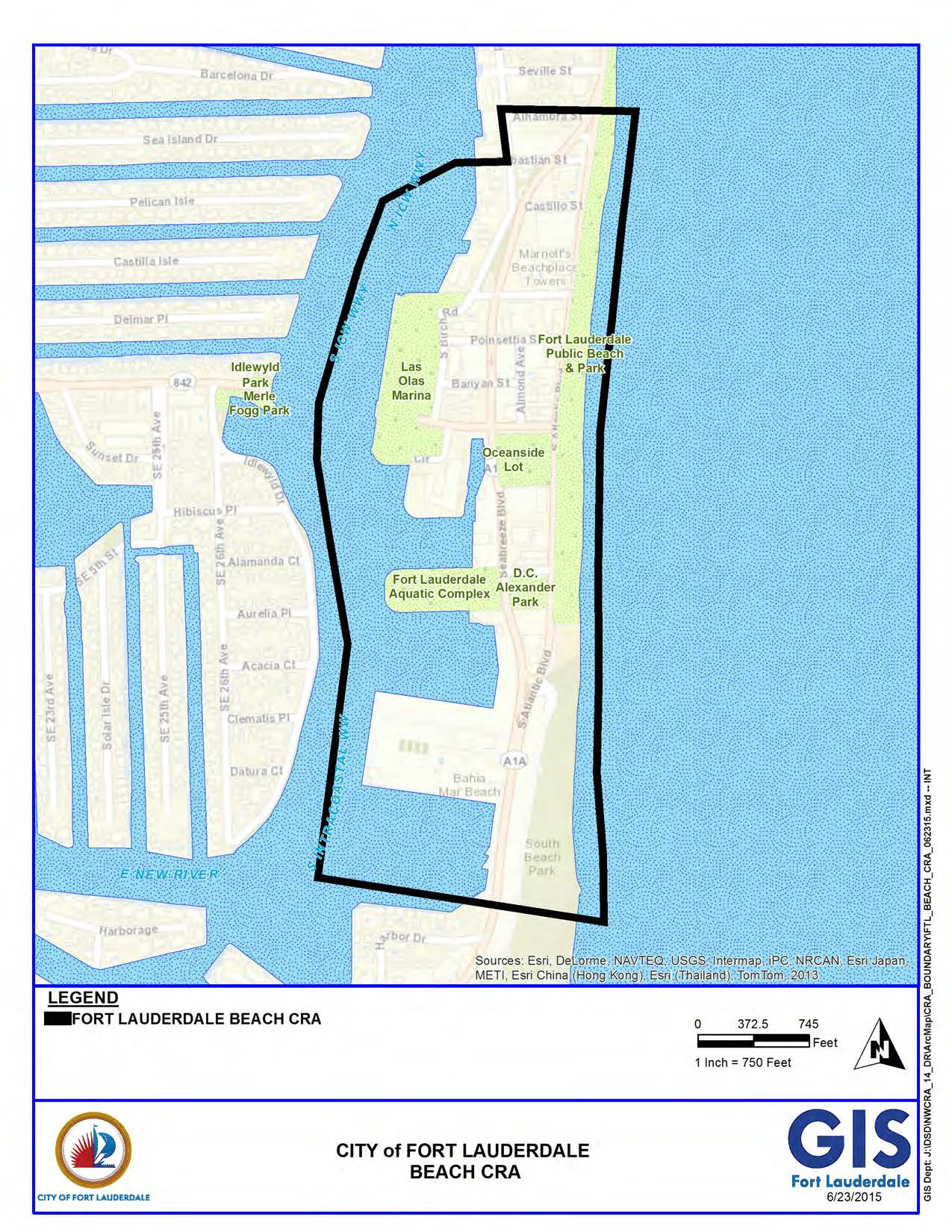Map Of Fort Lauderdale Florida.City Of Fort Lauderdale Fl Beach Cra Boundary Map