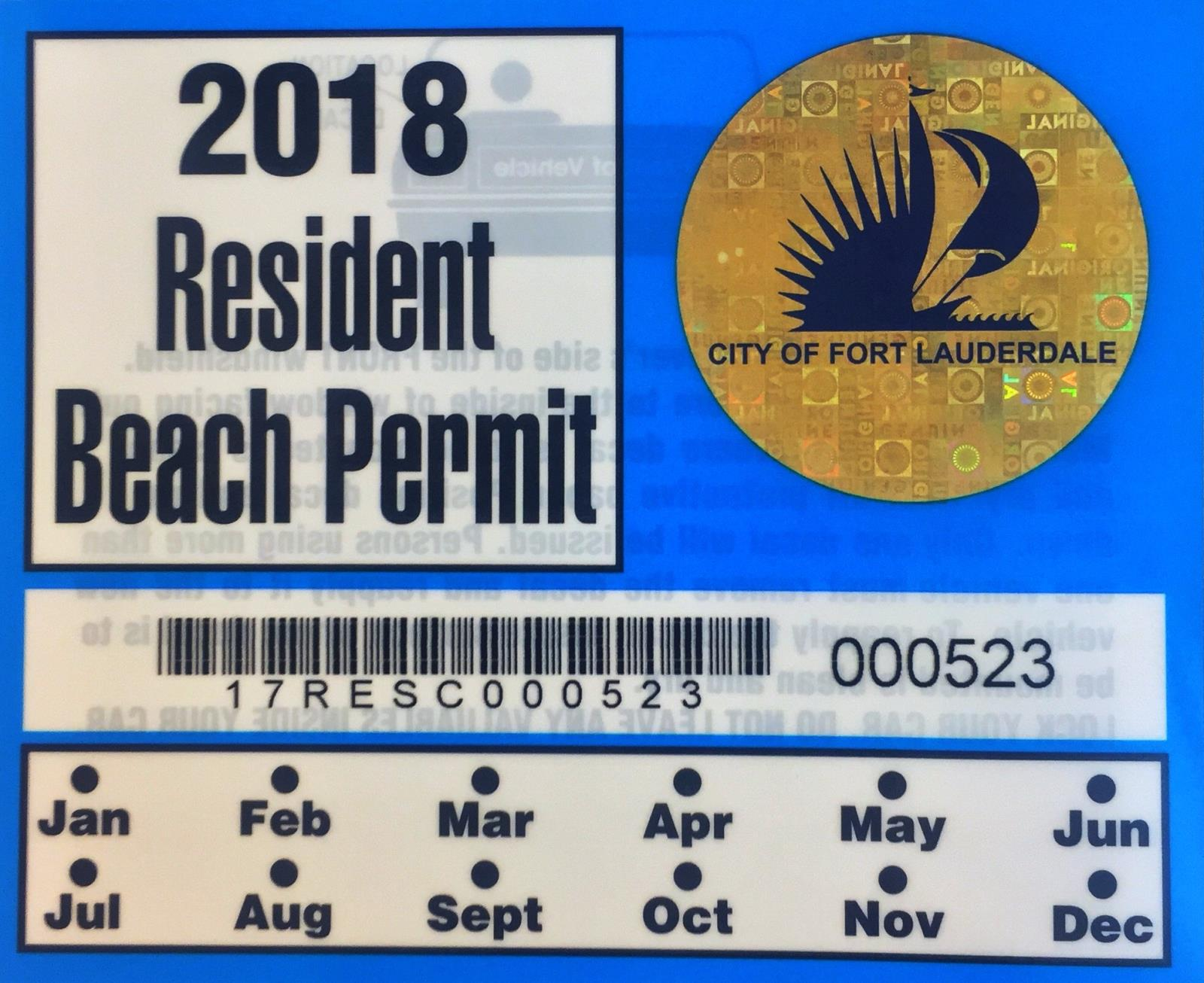 2018 Residential Beach Permit Monthly Parking Permits