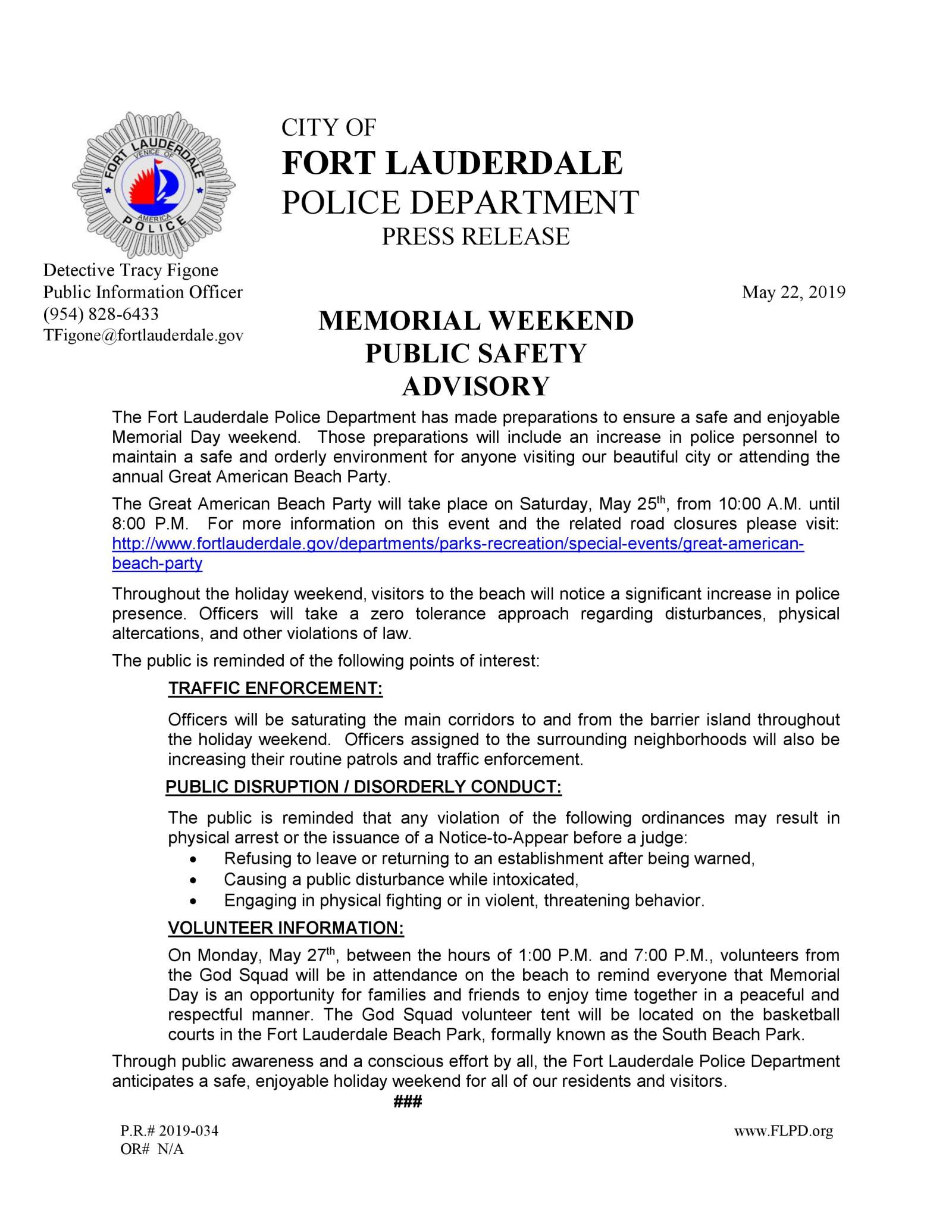 FLPD Memorial Weekend Public Safety Advisory