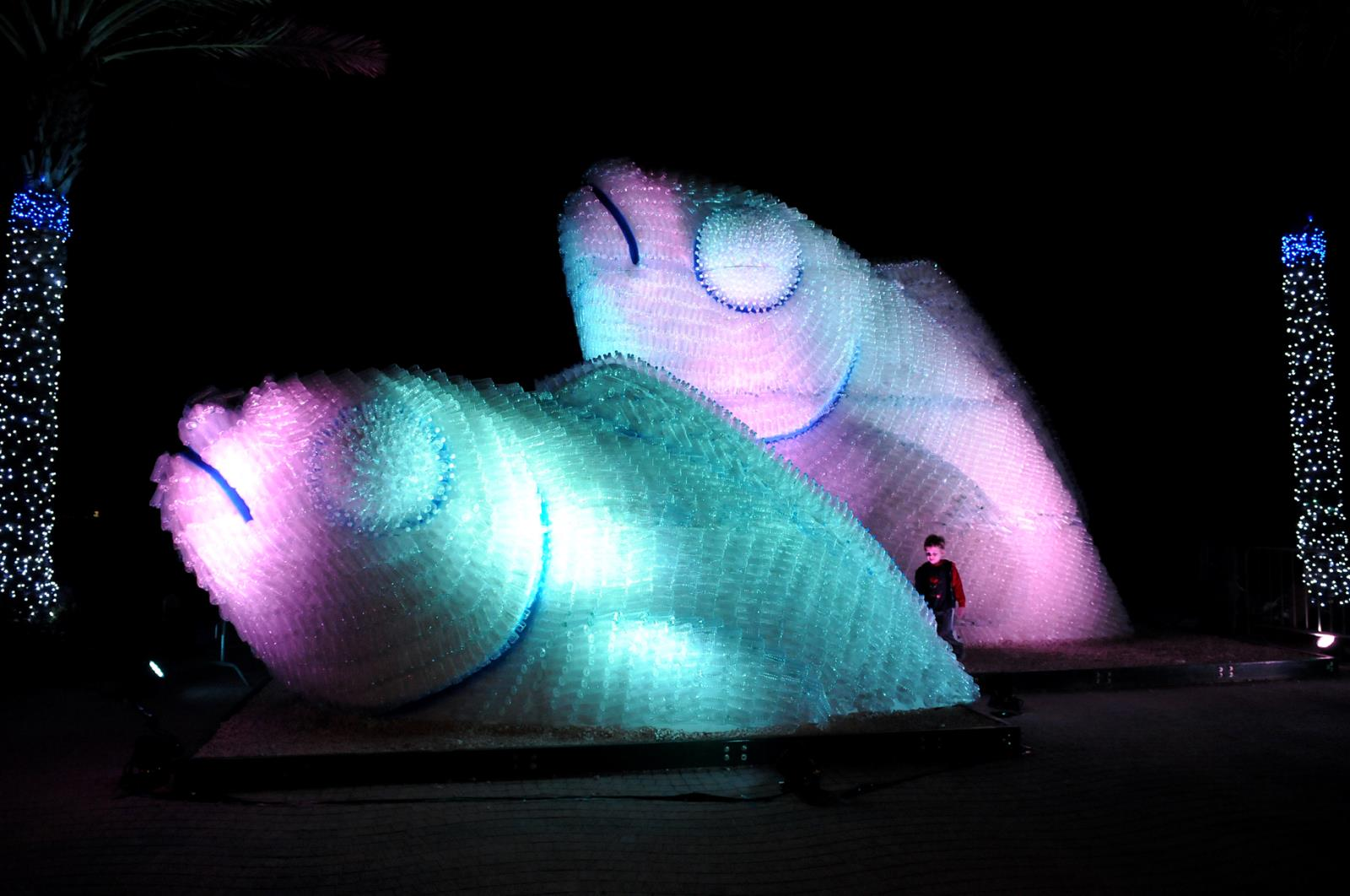 Night View of Upcycled Bottle Fish Sculpture