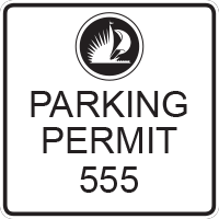 3991 White Employee Parking Decal
