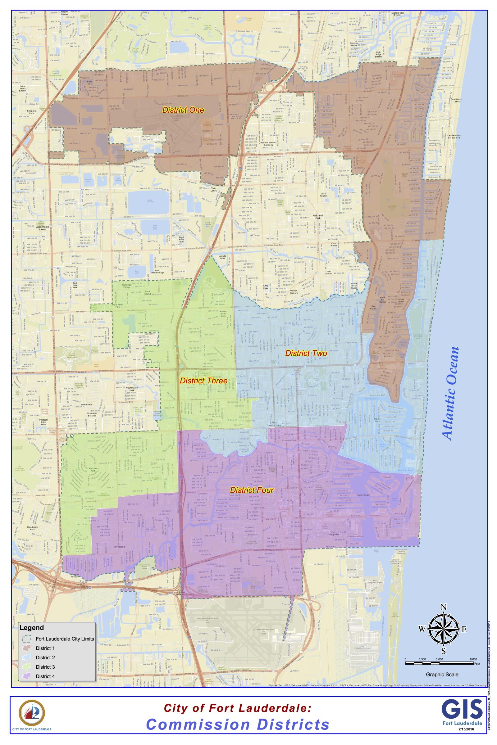 Commission Districts (24x36)Fort Lauderdale