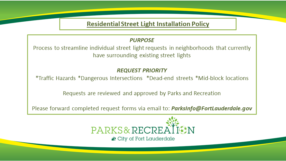 Parks and Rec Street Light Policy