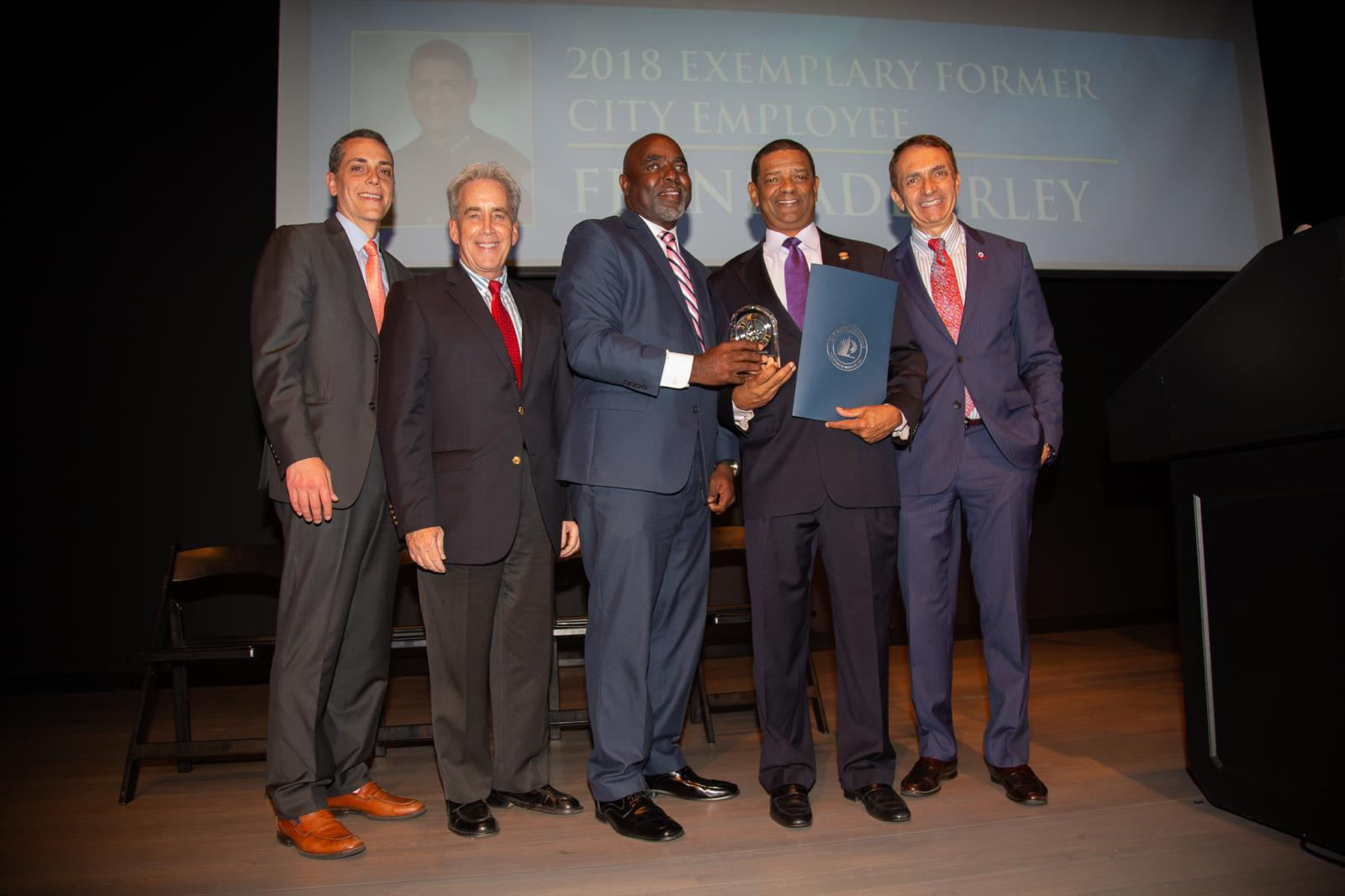 Fort Lauderdale City Commission with the 2018 Exemplary City Employee Frank Adderley
