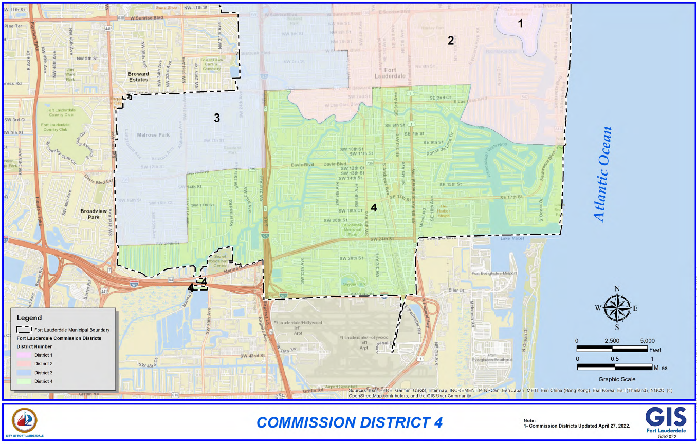 Map Of Fort Lauderdale Florida.City Of Fort Lauderdale Fl District 4 Map
