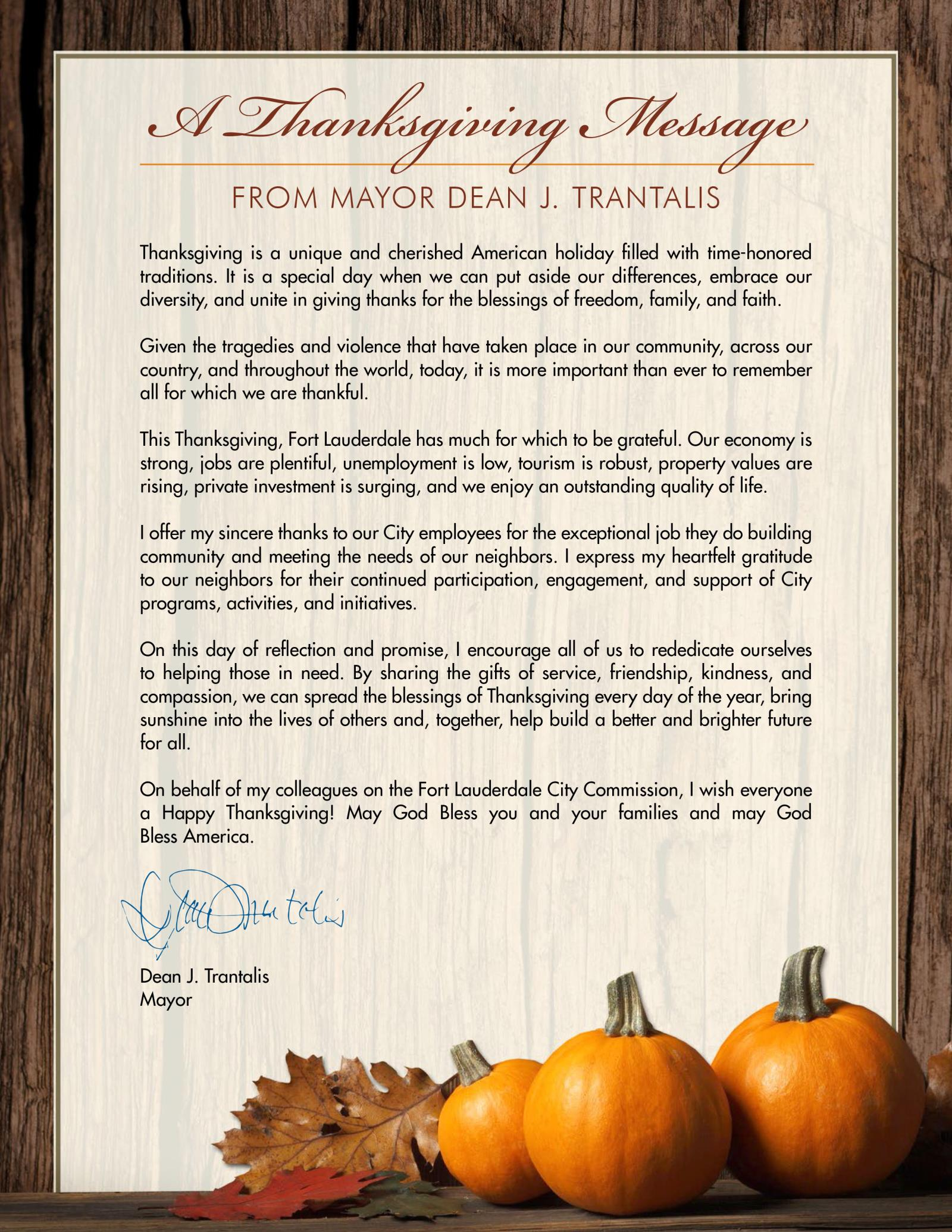 a thanksgiving message from mayor dean j trantalis