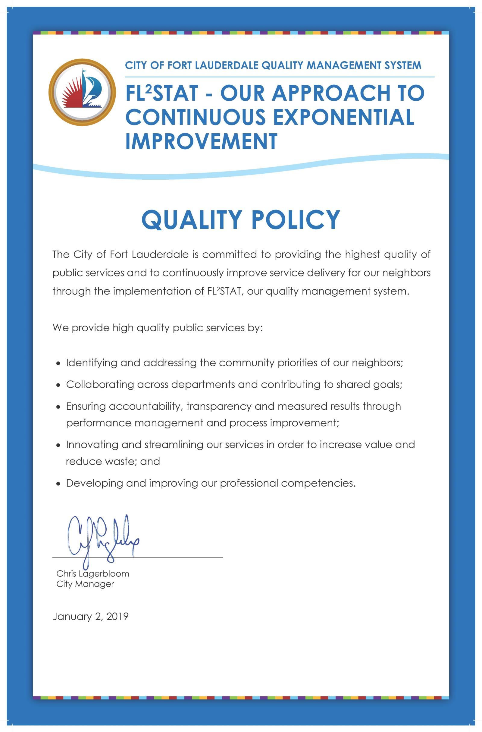 City of Fort Lauderdale, FL : Quality Management System